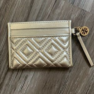 Tory Burch Fleming Metallic Slim Card Case, Silver